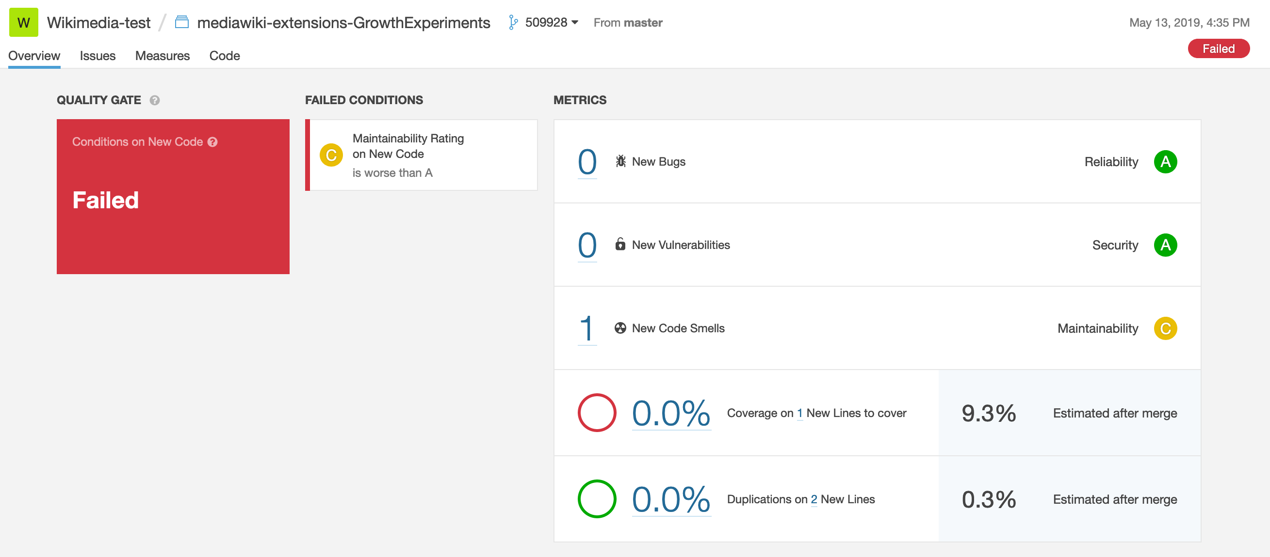 screenshot of sonarqube quality gate