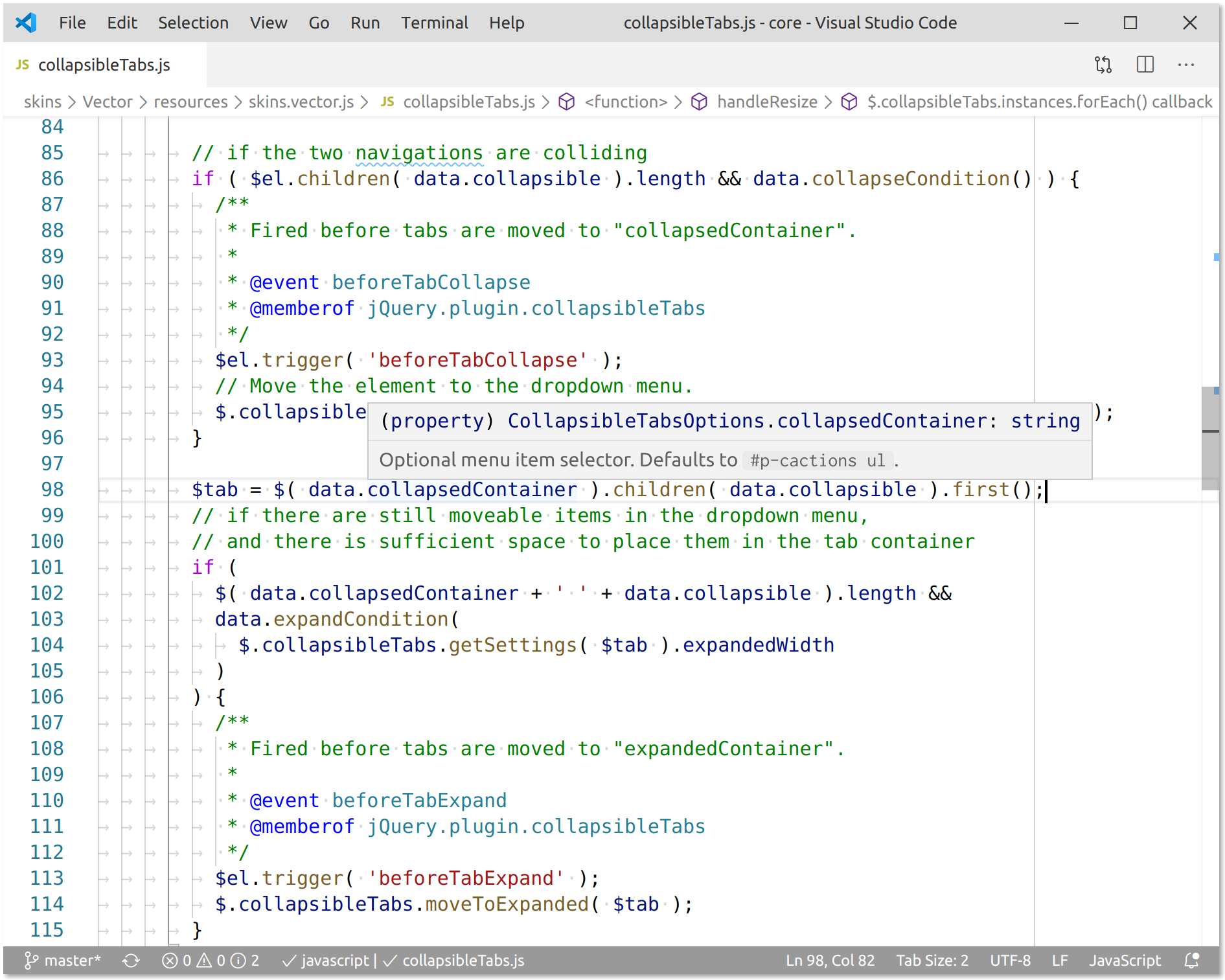 Screenshot of the same code editor presenting documentation in a highly integrated and useful manner.