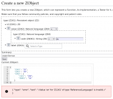 type: Persistent object, value: Natural language (Z60), code: de, label: (blank), Summary: create German; below, JSON for the object to be created, and then the quoted error message